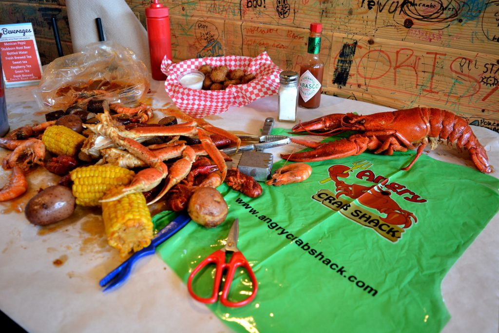 Angry Crab Shack seafood boil and tools