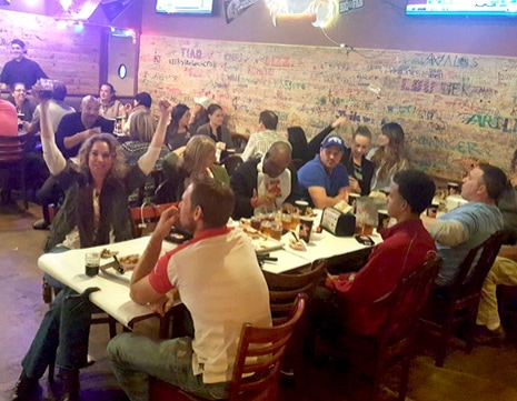 People celebrating over dinner