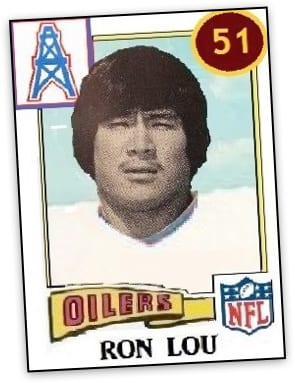 Ron Lou's collectable NFL player card from the Oilers