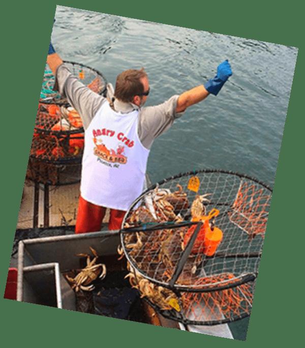 Fisherman celebrating a catch